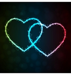 Background with glowing heart-shape vector image