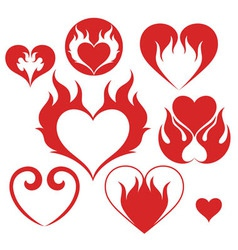 Heart fire vector