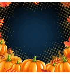 Orange autumn pumpkins frame vector