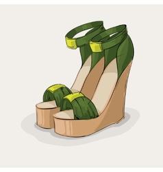 Luxury green sandals vector image