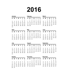2016 calendar black text on a white background vector