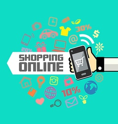Mobile in human hand online shopping vector