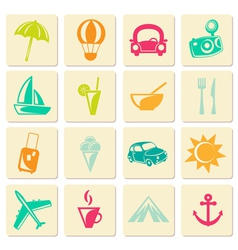 Travel summer icons vector