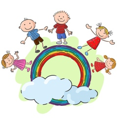 Little kids standing on the rainbow vector