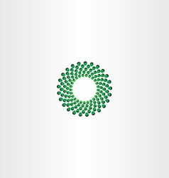 Green circle particle fusion icon logo vector