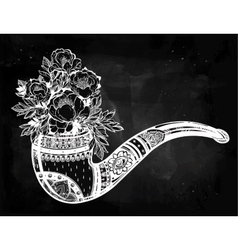 Hand drawn tobacco pipe with floral bouquet vector