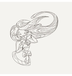 Elegant stylized girl doll with long flowing hair vector