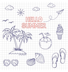 Summertime icons set vector