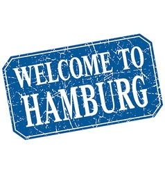 Welcome to hamburg blue square grunge stamp vector