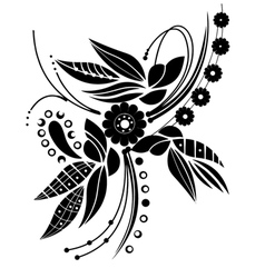 Black floral motive vector