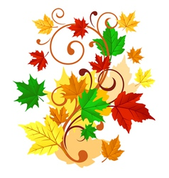 Autumnal background with colorful leaves vector