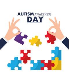 Autism awareness day card solidarity event vector