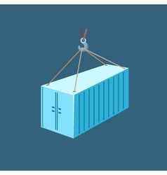 Blue container with crane vector
