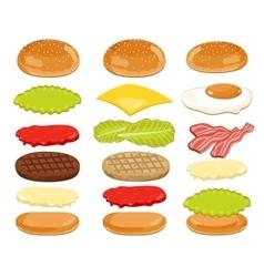 Burger Ingredients Set on White Background vector image vector image