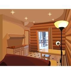 Cartoon interior in a wooden house vector