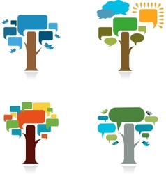 collection od four trees with speach trees vector image