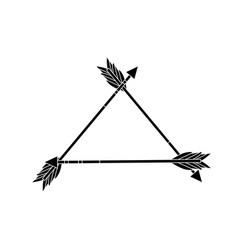 Contour cute arrows element with ornamental design vector