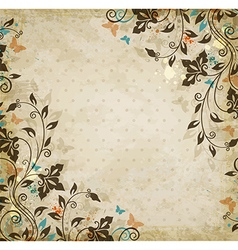 Decorative floral vintage background vector image vector image