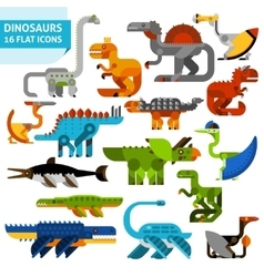 Dinosaur icons set vector