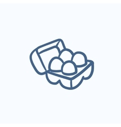 Eggs in carton package sketch icon vector image