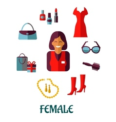 Female shopping flat icons vector image vector image