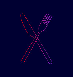 Fork and knife sign line icon with vector