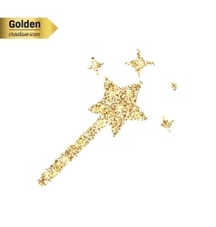 Gold glitter icon of magic wand isolated on vector
