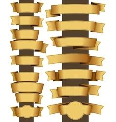 Gold ribbon set vector