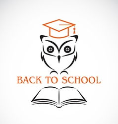Image of an owl with college hat and book vector