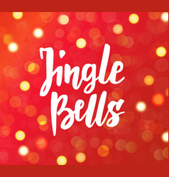 Jingle bells text hand drawn brush lettering vector