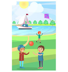 kids play with ball in public park poster vector image