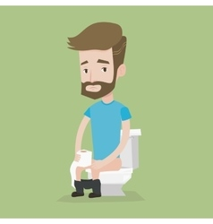 Man suffering from diarrhea or constipation vector