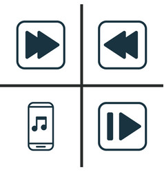 Music icons set collection of audio mobile vector