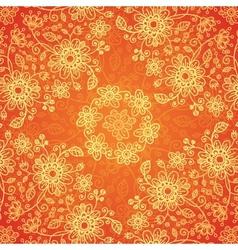 Orange doodle flowers ornate seamless pattern vector image vector image