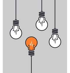 Orange light bulb different among the others vector image