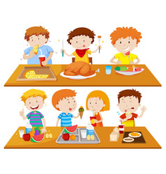 people eating different types of food vector image vector image