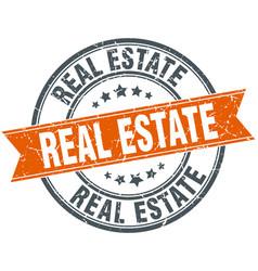 Real estate round grunge ribbon stamp vector