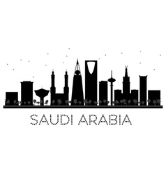 Saudi arabia skyline black and white silhouette vector