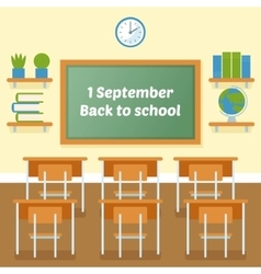 School classroom with chalkboard vector