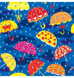 seamless pattern with colorful umbrellas clouds an vector image