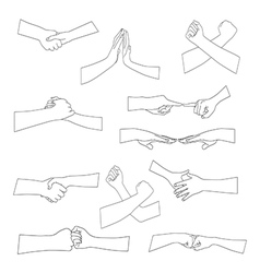 Set of different handshake silhouette vector image