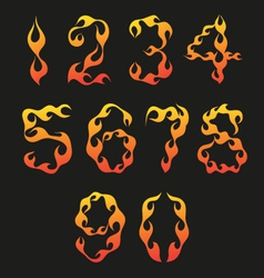 Set of figures in the shape of fire vector image