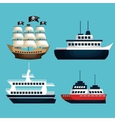 set of marine transport vessels vector image