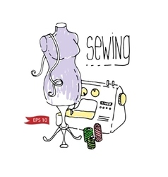 Sewing mannequin and machine vector