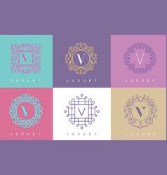 V letter pastel floral monogram lines logo design vector