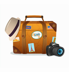 Vintage travel suitcase with tickers vector