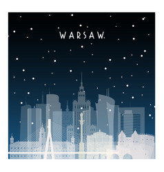Winter night in warsaw night city in flat style vector