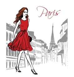 woman walking in Paris vector image vector image