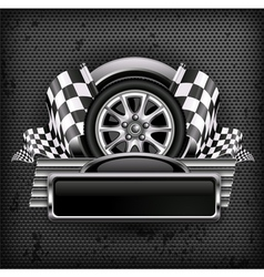 Emblem races checkered flag background vector
