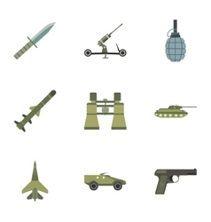Army weapons icons set flat style vector image